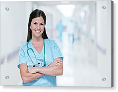 Female Doctor Smiling Towards Camera Acrylic Print by Science Photo Library
