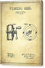Fishing Reel Patent From 1874 Acrylic Print by Aged Pixel