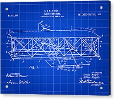 Flying Machine Patent 1903 - Blue Acrylic Print by Stephen Younts