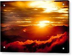Golden Sunset Himalayas Mountain Nepal Acrylic Print