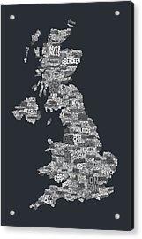 Great Britain Uk City Text Map Acrylic Print