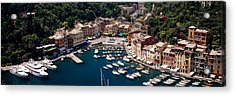 High Angle View Of Boats Docked Acrylic Print by Panoramic Images