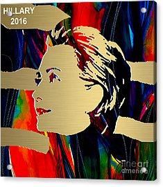 Hillary Clinton Gold Series Acrylic Print by Marvin Blaine
