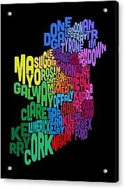 Ireland Eire County Text Map Acrylic Print by Michael Tompsett
