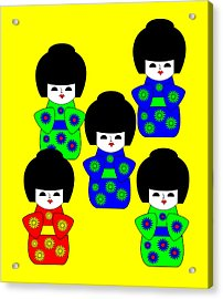 5 Japanese Dolls On Yellow Acrylic Print by Asbjorn Lonvig
