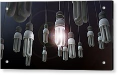 Leadership Hanging Lightbulb Acrylic Print by Allan Swart