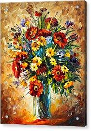 Magic Flowers Acrylic Print by Leonid Afremov
