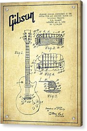 Mccarty Gibson Les Paul Guitar Patent Drawing From 1955 - Vintage Acrylic Print