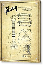 Mccarty Gibson Stringed Instrument Patent Drawing From 1969 - Vintage Acrylic Print