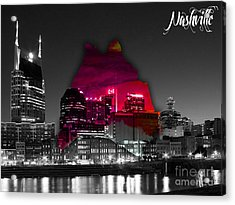 Nashville Skyline And Map Watercolor Acrylic Print