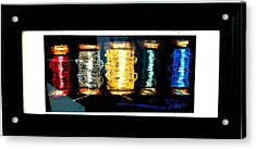 Acrylic Print featuring the drawing 5 Spools by Joseph Hawkins