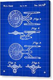Star Trek Uss Enterprise Toy Patent 1981 - Blue Acrylic Print by Stephen Younts
