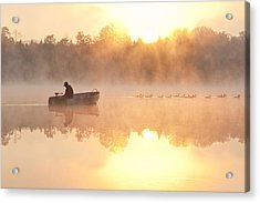 Sunrise In Fog Lake Cassidy With Fisherman In Small Fishing Boat Acrylic Print