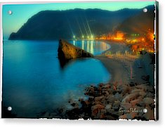 Acrylic Print featuring the mixed media 5 Terre Monterosso Beach In Passeggiate A Levante by Enrico Pelos