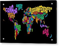 Text Map Of The World Map Acrylic Print