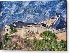 The Great Wall In China Acrylic Print by George Atsametakis