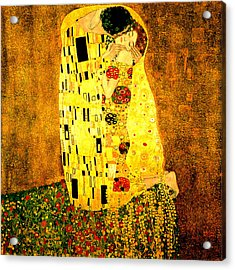 Acrylic Print featuring the digital art The Kiss by Gustav Klimt