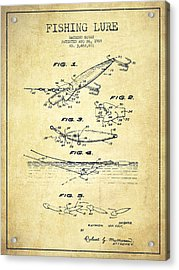 Vintage Fishing Lure Patent Drawing From 1969 Acrylic Print by Aged Pixel