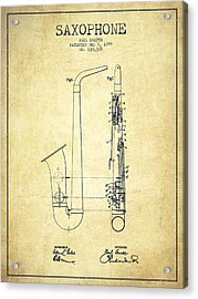 Saxophone Patent Drawing From 1899 - Vintage Acrylic Print by Aged Pixel