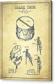 Vintage Snare Drum Patent Drawing From 1889 - Vintage Acrylic Print