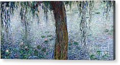 Waterlilies Morning With Weeping Willows Acrylic Print by Claude Monet