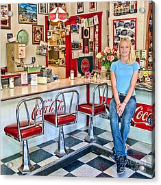 50s American Style Soda Fountain Acrylic Print by David Smith