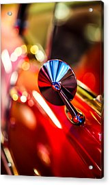 50's Red Chevy Bel Air Rearview Mirror Acrylic Print by Shanna Gillette