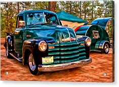Acrylic Print featuring the painting '51 Chevy Pickup With Teardrop Trailer by Michael Pickett