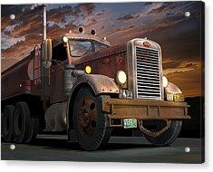 '55 Peterbilt Sunset Acrylic Print by Stuart Swartz