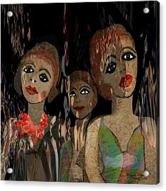 562 - Three Young Girls   Acrylic Print by Irmgard Schoendorf Welch