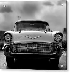 57 Chevy Full Frontal In Bw Acrylic Print by Don Durante Jr