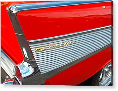57 Chevy Tail Fin Acrylic Print by Don Durante Jr