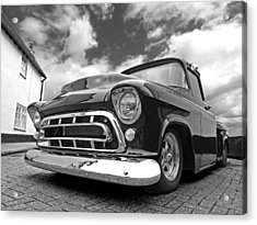 57 Stepside Chevy In Black And White Acrylic Print by Gill Billington