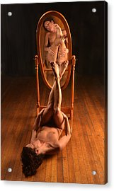 5806 Nude On Wood Floor Before Mirror  Acrylic Print