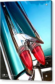 Acrylic Print featuring the photograph '59  Caddy Tail Fins by David Perry Lawrence