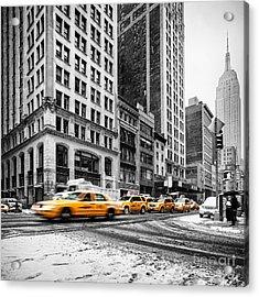 5th Avenue Yellow Cab Acrylic Print