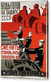 1930s Soviet Propaganda Poster Acrylic Print by Cci Archives
