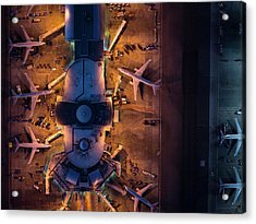Airliners At  Gates And Control Tower Acrylic Print by Michael H