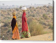 Asia, India, Rajasthan, Manvar, Desert Acrylic Print