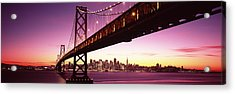 Bridge Across A Bay With City Skyline Acrylic Print