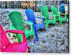Acrylic Print featuring the digital art 6 Chairs by Michael Thomas