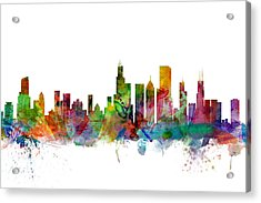 Chicago Illinois Skyline Acrylic Print by Michael Tompsett