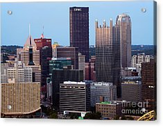 Downtown Skyline Of Pittsburgh Pennsylvania Acrylic Print by Bill Cobb