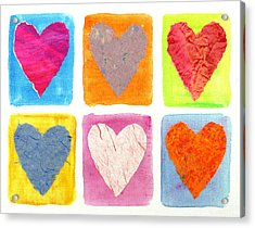 6 Hearts Collage Acrylic Print