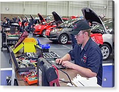 High School Auto Repair Competition Acrylic Print