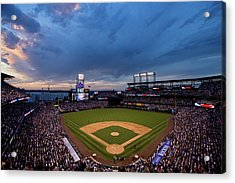 Los Angeles Dodgers V Colorado Rockies Acrylic Print by Justin Edmonds