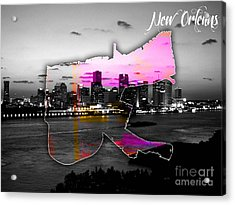 New Orleans Map And Skyline Watercolor Acrylic Print by Marvin Blaine