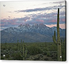 Four Peaks Sunset Snow Acrylic Print