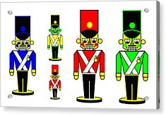 6 Nutcracker Soldiers On Black Acrylic Print by Asbjorn Lonvig