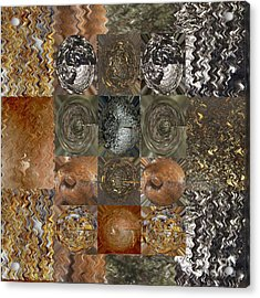 Rareearth Rare Earth Stones Minerals Microphotography Micro Photography Tiled Square Silver Chrome B Acrylic Print by Navin Joshi